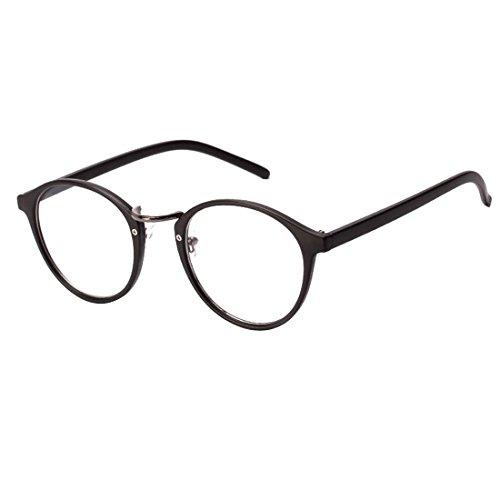 NoyoKere Mens Womens Vintage Nerd Brille Klare Linse Brillen Unisex Plain Klar Brillen Brille Titan Brillen Rahmen Mattschwarz