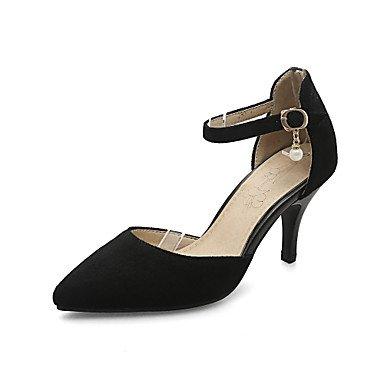 Desy Sandalias Para Mujer Decolleté Nubuck Leather Boda De Verano Noche Y Fiesta Formal Perforated A Stiletto Negro Gris Amarillo 5 - 7 Cm Negro