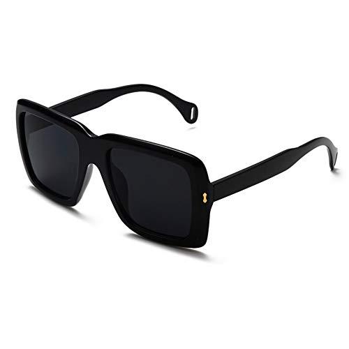 ZHONGYUAN Mode Dame Big Box Sonnenbrille Mode im Freien Platz Retro Sonnenbrille Sonnenbrille, schwarzer Film