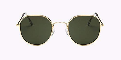WSKPE Sonnenbrille Sonnenbrille Frauen Neue Runde Sonnenbrille Retro Männer Farbtöne Für Dame Uv400 (Goldene Rahmen Dunkel Grüne Linse)