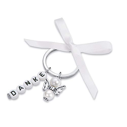 25 Gastgeschenke Hochzeit Schlüsselanhänger mit 25 Organza Beutel Gastgeschenk Taufe Weihnachten Geburtstag Kommunion Konfirmation Geschenk für Gäste Anhänger Danke kleines Dankeschön