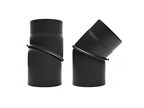 Tuyau de poêle coudé 45° 180 mm kniebogen genou noir