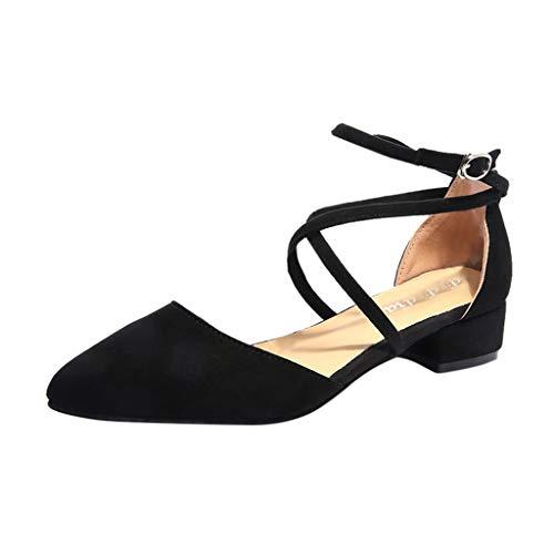 Deloito Damen Mode Freizeit 2019 Sommerschuhe Wildleder Sandalen Point Toe Quadratischer Absatz Sandaletten Draussen Med Ferse Strandschuhe (Schwarz,38 EU)