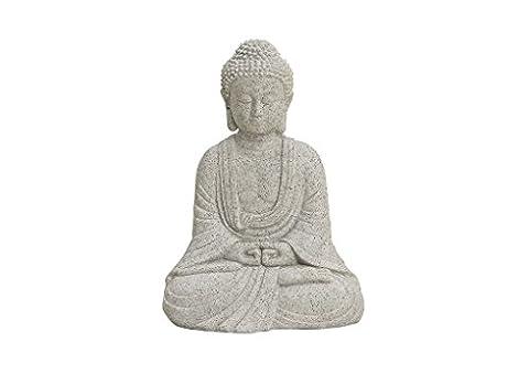 Buddha-Figur sitzend, 13cm in Grau | Deko-Artikel für Wohnung, Haus & Garten | Buddha-Skulptur, Wohnaccessoire ideal als Geschenk | Buddha-Statue Feng Shui Dekoration |