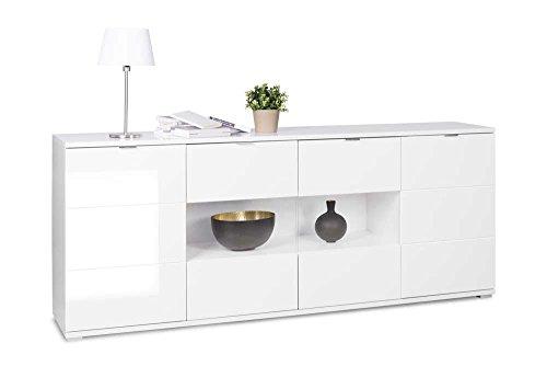 Sideboard in weiß Hochglanz, chromatierte Metallgriffe, wendbare Rückwände, Füße silber lackiert,Maße: B/H/T ca. 200/85/40 cm