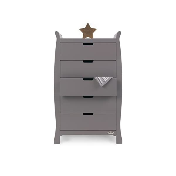 Obaby Stamford Sleigh Tall Chest of Drawers - Taupe Grey Obaby 5 drawers provide much needed storage space Smooth gliding runners provide easy opening and closing Co-ordinates with the rest of the obaby stamford furniture range 2