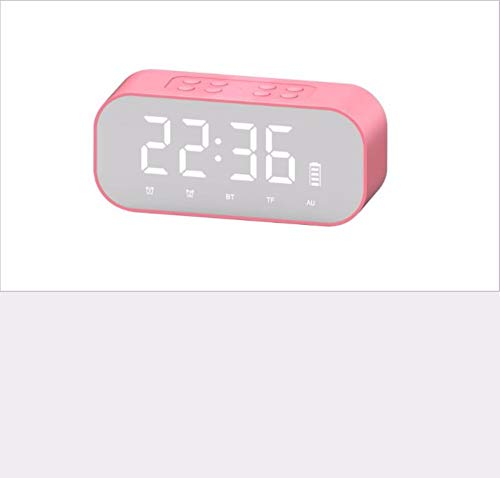 chaoaihekele Wecker Bluetooth Funklautsprecher Mini Doppel-Lautsprecher Spiegel Uhr Karte Subwoofer kleine Stereo-Heimtextilien Digitale elektronische Uhr Wecker, A
