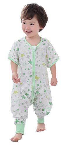 Chilsuessy Baby Sommer Schlafsack mit Füßen Kurzarm Kinder Sommerschlafsack Kinderschlafsack Pyjamas Overall Schlafanzug 100% Baumwolle, Gruen Stern, 110/Baby Hoehe 95-105cm -