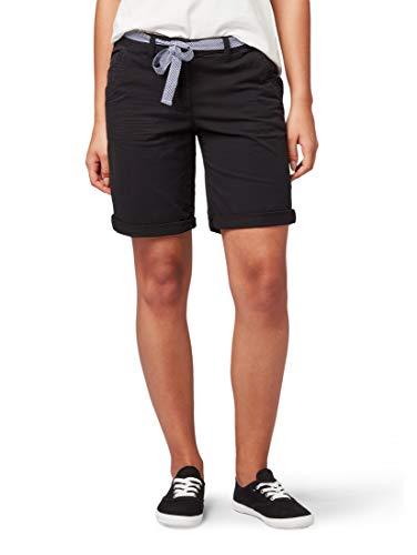 Damen-bio-baumwoll-jersey (TOM TAILOR Casual Damen Bermuda Shorts, Schwarz (Deep Black 14482), W(Herstellergröße: 42))
