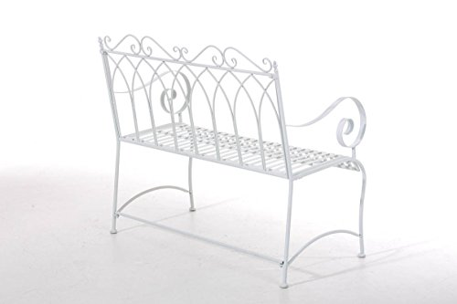 CLP Gartenbank DIVAN im Landhausstil, aus lackiertem Eisen, 106 x 51 cm – aus bis zu 6 Farben wählen Weiß - 3