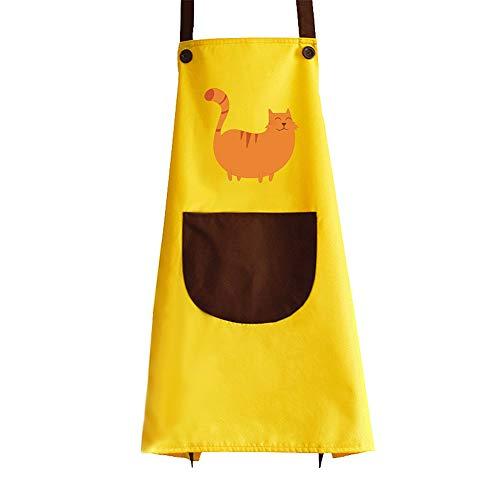 Kanggest Süß Tier Schürze mit Tasche für Erwachsene Kinder Wasserdicht Polyester Küchenschürze Latzschürze Kochschürze Erwachsene (Gelbes Kätzchen) -