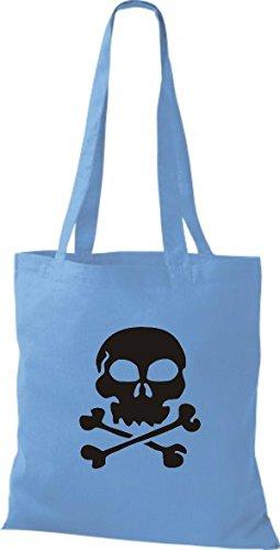 ShirtInStyle Stoffbeutel Skull Totenkopf Schädel diverse Farbe surf blue