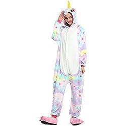 Tuopuda Animal Licorne Pijamas Kigurumi la Ropa de Noche del Traje del Anime de Cosplay Nightclothes de Navidad del Unicornio Onesie (L = 168-177 cm Height, Estrella)
