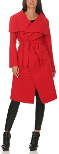 Malito Damen Mantel lang mit Wasserfall-Schnitt   Trenchcoat mit Gürtel   weicher Dufflecoat   Parka - Jacke 3040 (rot)