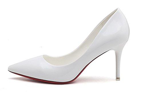 AalarDom Femme Matière Souple à Talon Haut Pointu Tire Chaussures Légeres Blanc