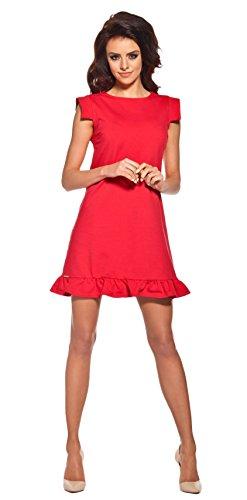 Lemoniade extravagantes Kleid mit ausgefallenen, kurzen Ärmeln und Rüschen-Saum, rot, Gr. L