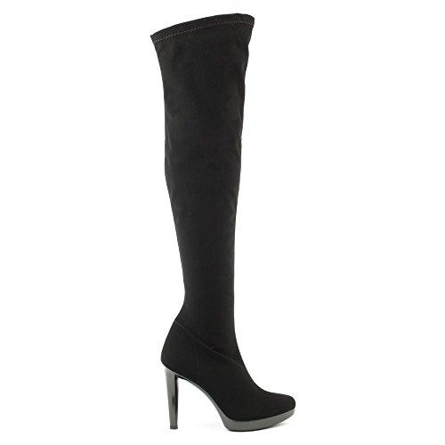 DANIEL Romantik über dem Knie Stretch Stiefel schwarz Black Fabric 41