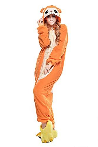 bc86671e8ae8 Halloween Unisex Adult Cute Animals Pajamas Costume Christmas Dress Up Gift  (Orange Monkey,Medium