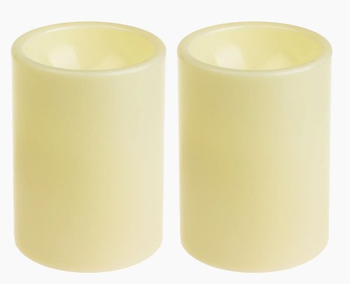 GiveU 3X4 Inches Flameless Plastic Pillar Led Candle Light With Timer For Indoor and Outdoor,Battery Operated Mood Lighting,Ivory,Pack of 2 -