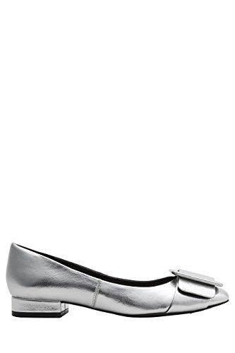 next Femme Chaussures À Bout Carré Et Boucle Gris Argenté