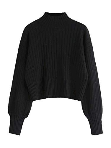 ZAFUL Damen Locker Rollkragenpullover Langarm Sweater Pulli Lose Bluse Pullover Tops(Schwarz)