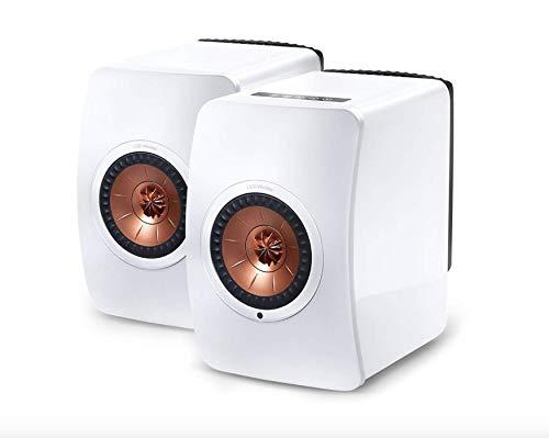 KEF LS50 Wireless - Enceinte sans fil -Enceintes actives | HiFi | Airplay 2 Enceintes | Spotify Connect, TiDAL | LS50 Meilleur système de musique active et système stéréo - blanc / cuivre
