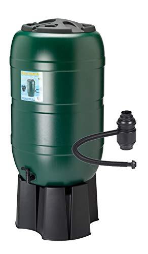 Kreher Regensammler Wassertonne für 210 Liter mit Standfuß, Füllautomat (Befüllsystem) und einem Verbindungs-Set für Wassertechnik