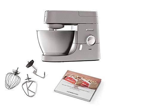 0S - Küchenmaschine, 4,6 l Edelstahl-Rührschüssel & 1,5 l Acryl-Mixaufsatz, multifunktionaler Küchenhelfer, 1000 W, inkl. 3-teiligem Patisserie-Set, silber ()