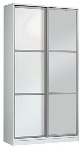 Armario ropero con Espejos Color Blanco Brillo de 2 Puertas correderas, estantes Regulables, molduras Decorativas para Dormitorio. 200cm Alto x 100cm Ancho x 55cm Fondo