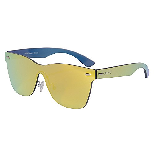 Wxx000 Sonnenbrille Zwei-Ton Reflektierende Linse Vintage Retro Style Classic Frame Unisex UV400 Schutz (Color : Yellow)