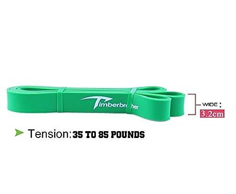 Timberbrother bandes de r¨¦sistance pour corps ¨¦tirement / tractions / musculation / mobilit¨¦ (single unit) (Vert-104cm x 0.45cm x 3.5cm)