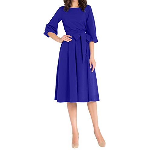 Kostüm 1930's Swing - Damen Kleid,❤️Binggong Damen Solides Langärmliges Kleid mit Tiefem Halsausschnitt