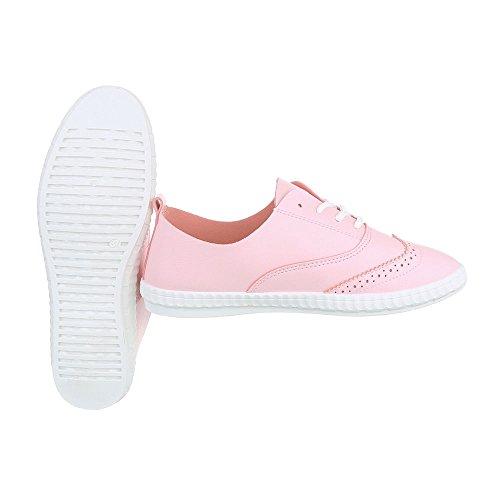 Sportschuhe Damenschuhe Geschlossen Sneakers Schnürsenkel Ital-Design Freizeitschuhe Rosa