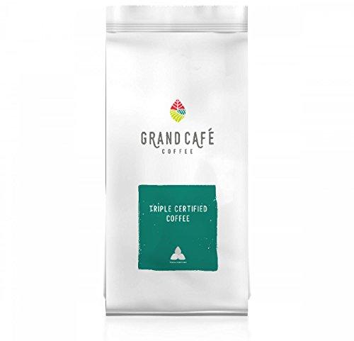 Mélange de grains de café bio triplement certifié de qualité supérieure Grand Café de United Coffee, issu du commerce équitable de la Rainforest Alliance, origine Indonésie, Colombie, Brésil, Amérique Centrale, café en grains, sachet poids net 500g