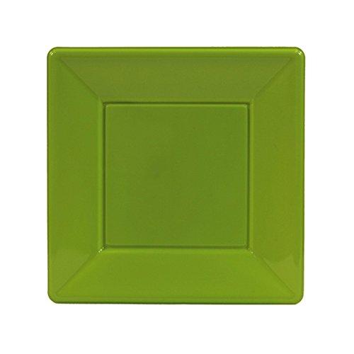 8 assiettes plastique carrée kiwi 18x18cm