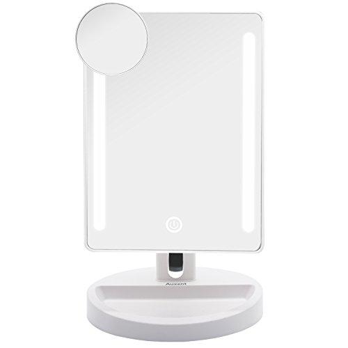 Auxent Kosmetikspiegel mit LED Beleuchtung, Touchscreen und 10X Vergrößerungsspiegel, Tischspiegel Schminkenspiegel Beleuchtet mit Blendfreier Bleuchtung für Wohnzimmer, Kosmetikstudio, Spa und Hotel