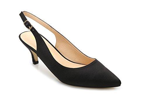 Kleid 9 Schuhe Größe Schwarz (ComeShun Damen Schuhe Slingback Kitten Heels Kleid Court Pumpen Schuhe, Schwarz - Schwarz - Größe: 40)