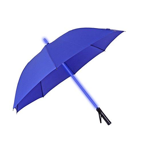 JTTVO - Paraguas ligero de espada láser resistente al viento 8 varillas, con luz LED que cambia de color en el eje del paraguas; para viajar, regalos únicos para niños y adolescentes, Azul