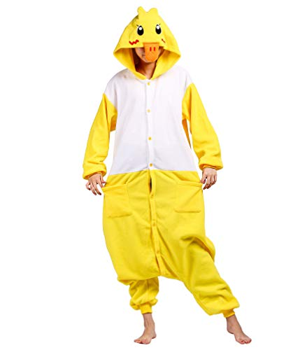 Jumpsuit Onesie Tier Karton Fasching Halloween Kostüm Sleepsuit Cosplay Overall Pyjama Schlafanzug Erwachsene Unisex Lounge Kigurumi Gelb Ente for Höhe - Adult Ente Kostüm