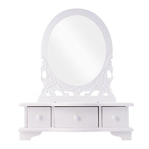 elbmöbel Frisierkommode Schminktisch weiß antik Holz Tischspiegel Frisierspiegel (B38 x H47 x T12cm) (Kleiner Schminktisch Mit Spiegel)