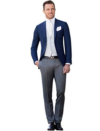 FRANK Herren 3-teiliger Anzug mit Schwalbenschwanzkragen, Revers und Blauer Rauchen Jacke, Party/Weste/Hose