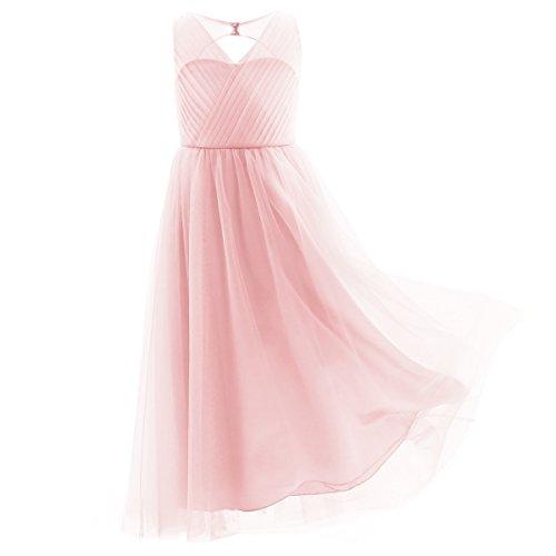 CHICTRY Kinder Mädchen Kleider Festlich Lange Brautjungfern Kleid Hochzeit Blumensmädchenkleid Partykleid Kleidung Rosa 164