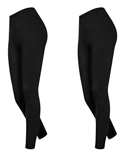 Lot de 2 leggings en coton pour femmes longueur 7/8, différentes couleurs Noir