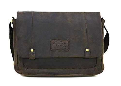TUSC Charon Braun Jäger Leder Tasche Vintage Laptoptasche 15,6 Zoll 14 Zoll Herren Damen Unisex Umhängetasche Aktentasche Schultertasche für Büro Notebook Messenger Bag Laptop iPad, 41x31x12cm
