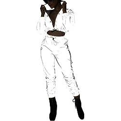 Ensemble 2 Pcs Réfléchissant pour Femme Set Blouson Short Court+Pantalon de Jogging/Combinaison Costume de Festival du Club Hip Hop (Ensemble, M)