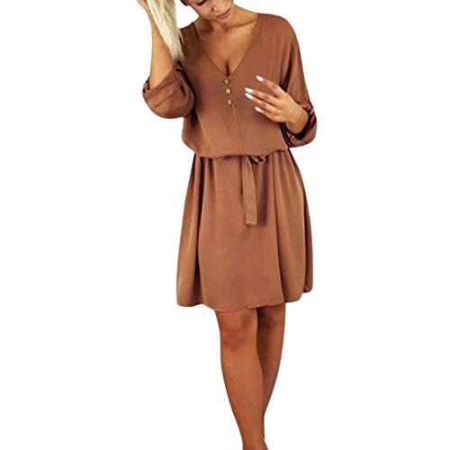 CAOQAO Femme Cache Coeur Manches Robe, Mousseline De Soie Casual Printemps-éTé Chic pour Robe avec Ceinture Bouton De Plage(Brun,M)