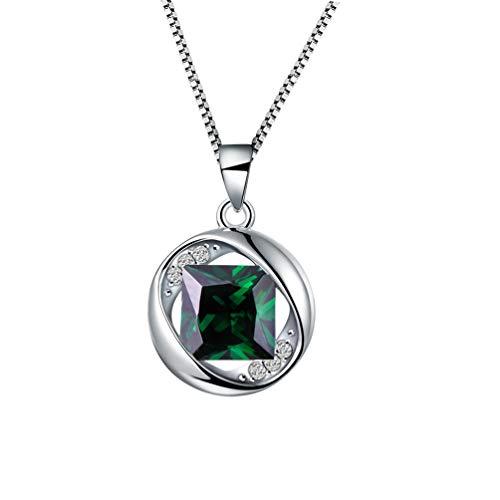 f962a368358a Aurora Tears Collar de Plata de Ley 925 con Colgante Esmeralda de Piedra  Natal de Crystal