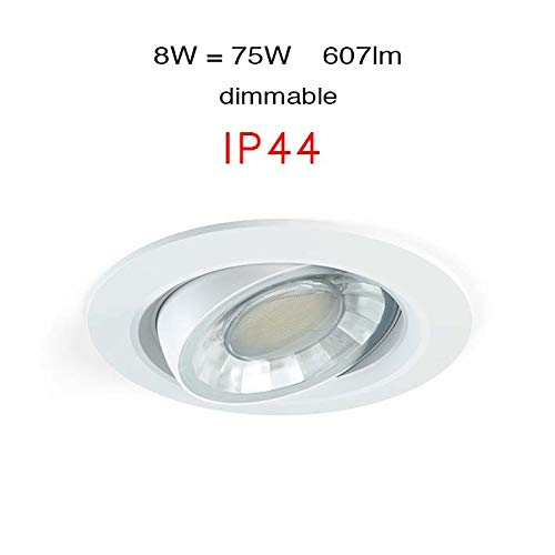 Faure Ip44 Beneito Compac Intensité 3000 Variable W R K À 360° Blanc Encastrable Led Spot Chaud 8 BrxdCoe