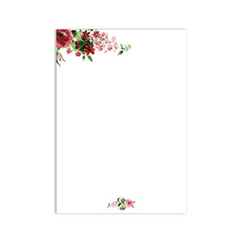 1 Set Briefpapier Rose I dv_017 I DIN A4 I 50 Blatt I Motivpapier rosa rot hell-grün vintage Blume Frühling Einladung Geburtstag Valentinstag Liebe