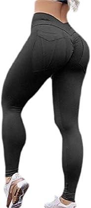 HOUJ Womens Fitness Workout High Waist Butt Lift Scrunch Tights Yoga Legging Pants
